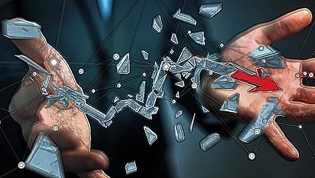 Businessman with broken crisis arrow 3D rendering