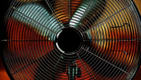 Closeup on working electric metallic fan