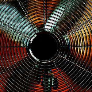 Closeup on working electric metallic fan